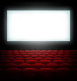 cinema hall with screen and red seats eps 10 vector image