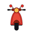 color image front view red scooter motorcycle vector image