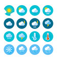 colored weather icons in flat style different vector image vector image