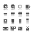 Computer circuit icons set vector image