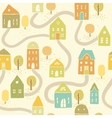 Cute autumn houses seamless pattern vector image