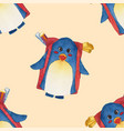 cute blue penguin with backpack watercolor on vector image