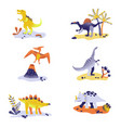 cute dinosaurs isolated on white background vector image vector image