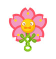 cute fantastic pink flower plant character nature vector image vector image