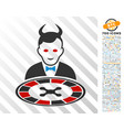 devil roulette dealer flat icon with bonus vector image