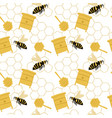 doodle seamless pattern with yellow bee beehive