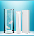 effervescent tablet in a glass with bubble vector image vector image