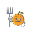farmer orange fruit cartoon character vector image vector image