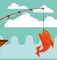 fish fishing cartoon vector image vector image