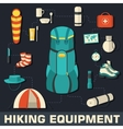 Flat colorful tourist equipment infographic Icons vector image vector image