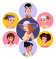 flat woman characters round concept vector image