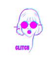 glitch woman fashion portrait pop art design vector image vector image