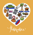 hawaii travel and landmark symbols poster vector image vector image