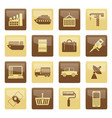 industry and business icons over brown background vector image vector image
