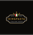 king pasta logo icon with crown noodle vector image