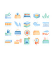 large set bedding and mattress icons vector image