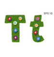 letter tt with a texture of grass and flowers vector image vector image