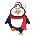 New Years cheerful cute penguin in winter red hat vector image vector image