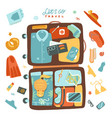 packing beach stuff for travel to sea vector image