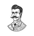 portrait gentleman in engraving style design vector image vector image
