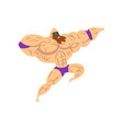 powerful wrestler character in flying jump kick vector image vector image