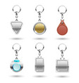 realistic silver golden leather keychains vector image vector image