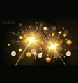 realistic sparklers on dark background merry vector image vector image
