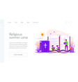 religious summer camp landing page template vector image vector image
