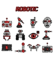 Robotic flat icon set vector image