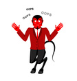 Satan speak OOPS Surprised by demon Red Devil is vector image vector image