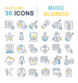 set line icons music business vector image