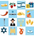 Set of colorful elements for Hanukkah celebration vector image