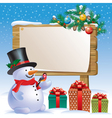 Snowman wooden sign vector image