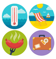 summer icons in flat design vector image vector image