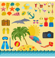 Travel Vacations Beach resort set icons Elements