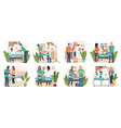 veterinary set with pet carriage vet clinic and vector image