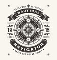 vintage nautical navigator typography vector image vector image