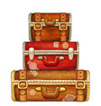 vintage watercolor hand drawn stack suitcases vector image vector image
