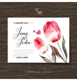 Wedding invitation card with watercolor flowers vector image vector image