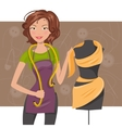 Woman seamstress near the manikin Dressmaker vector image vector image