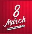 women day lettering on red background 8 march vector image