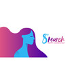 womens day 8th march girl face profile banner vector image vector image