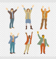 happy isolated people on transparent background vector image