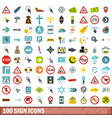 100 sign icons set flat style vector image vector image