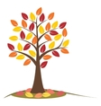 Autumn tree with falling leaves vector image vector image