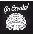 Blackboard poster with brain and lettering vector image vector image