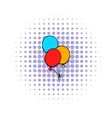 bunch colored balloons icon comics style vector image