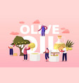 characters extracting virgin olive oil concept vector image vector image