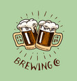 cheers toast glass beer in vintage style vector image vector image