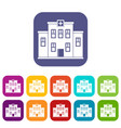 city hospital building icons set flat vector image vector image